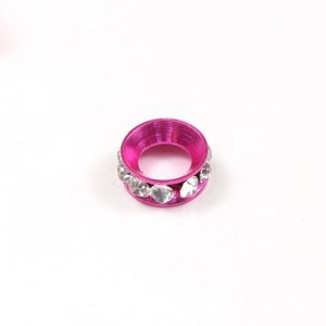 12mm copper baking finish Rondelle spacer,7mm hole, fuchsia, 1 piece