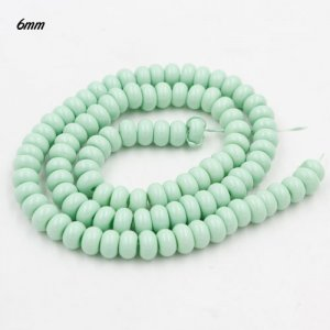 100Pcs 6x3.5mm Smooth Roundel Shape Glass Beads, rondelle glass beads strand, hole 1mm, Pale Turquois