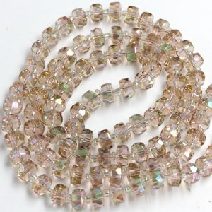 champagne and green light 5x8mm angular crystal beads