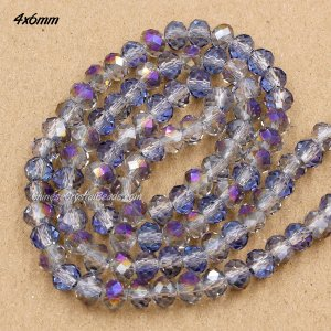4x6mm half purple light Chinese Crystal Rondelle Beads about 95 Pcs