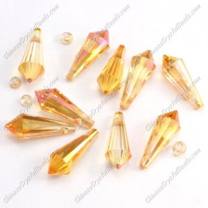 Chinese Crystal Icicle Drop Beads, 8x20mm, 1-hole, Amber light, sold per pkg of 10 pcs