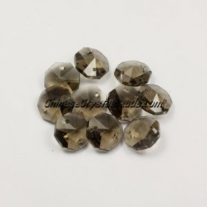 Crystal 14mm Octagon beads, 2 hole, smoke, 20 beads