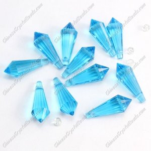 Chinese Crystal Icicle Drop Beads, 8x20mm, 1-hole, Aqua, sold per pkg of 10 pcs