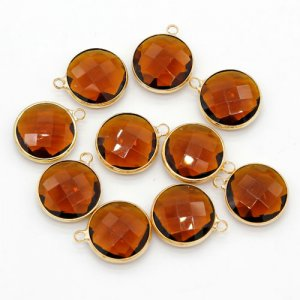 5Pcs 16x20mm amber Round Glass crystal Connecter Bezel pendant, Drops Gold Plated one Loops