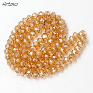 4x6mm Chinese Crystal Rondelle Bead Strand, golden shadow, about 95 Pcs