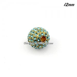alloy pave disco beads, aqua crystal stone, gold-plated, 12mm, 2mm hole, sold 9pcs