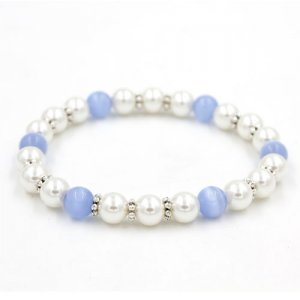 8mm cat eye beads and Plastic pearls bracelet, about 7inch