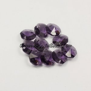 Crystal 14mm Octagon beads, 2 hole, violet, 20 beads