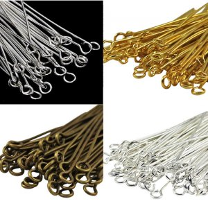 100Pcs Eyepin Metal Eye Pins Needles Findings for Jewelry Craft Findings