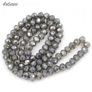 4x6mm opal half gray light Chinese Crystal Rondelle Beads about 95 beads