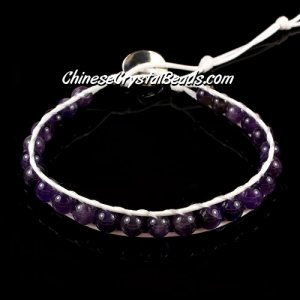 Beaded Wrap Bracelet, 6mm, nature purple crystal beads