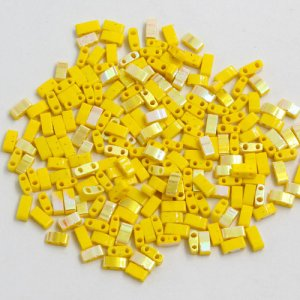 5x2.5mm chinese glass Half Tila yellow and half AB approx 200 beads