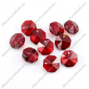 Crystal 14mm Octagon beads, 2 hole, siam, 20 beads