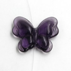 Butterfly glass beads, curtain Bead, 27x33mm, hole:1.5mm, violet, 1pc