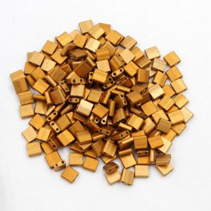 Chinese 5mm Tila Square Bead, Frosted copper, about 100Pcs
