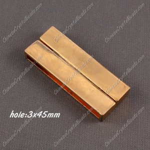 Big strong Magnetic Clasps, 7x19x49mm, rose gold plated Brass, sold 1 piece