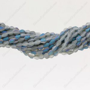 Matte Crystal Teardrop Beads Strand, Matte#03, 3x5mm, about 100 Beads