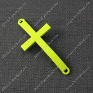 Alloy cross pendant, 21x46mm, hole about 2mm, neon color yellow, sold 1pcs