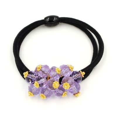 Ponytail holder with alexandrite crystal beads(Color Changing), Double rubber band, hair tie, elastic hair tie, 1 pc