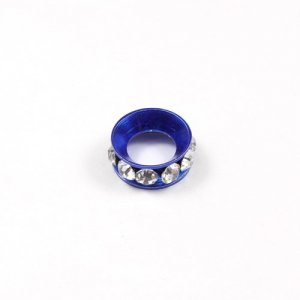 12mm copper baking finish Rondelle spacer,7mm hole, sapphire, 1 piece