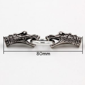 Clasp, dragon End Cap, antiqued silver plated, 80x24mm, Hole:6.5mm, 1 set