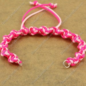 Pave Twist chain, nylon cord, fuchsia and pink, wide : 7mm, length:14cm
