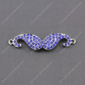 Pave accessories, mustache, 13x55mm, pave sapphire crystal, Sold individually.