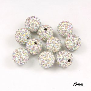50pcs, 10mm pave (clay) disco beads, hip hop disco beads, White AB, hole: 1.5mm
