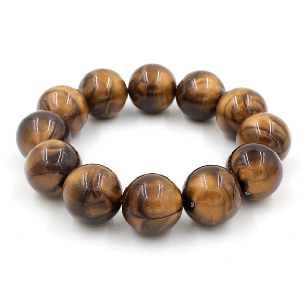 20Pcs ABS imitation cat eye's beads, wood color, 17mm, hole: 2.5mm