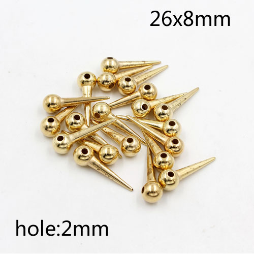 100Pcs 26x8mm Basketball Wives round ball Spikes Acrylic gold(not good but cheap), hole: 2mm