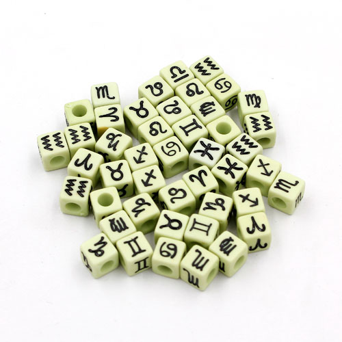 100Pcs Mixed Constellation Cube Acrylic Beads, 7mm, hole: 3.8mm, light green