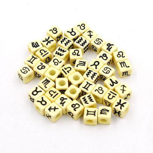 100Pcs Mixed Constellation Cube Acrylic Beads, 7mm, hole: 3.8mm, light yellow