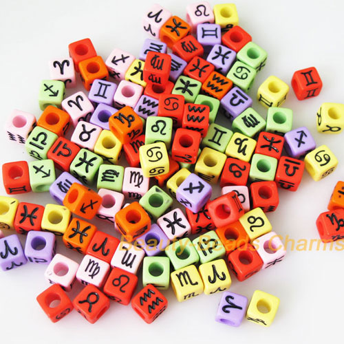100Pcs Mixed Constellation Cube Acrylic Beads, 7mm, hole: 3.8mm, Mix color
