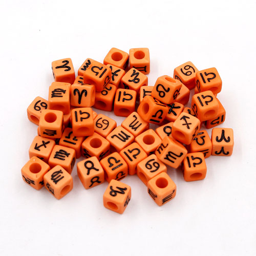 100Pcs Mixed Constellation Cube Acrylic Beads, 7mm, hole: 3.8mm, light orange