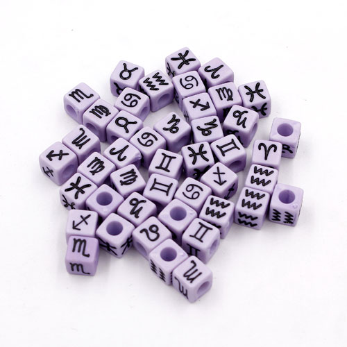 100Pcs Mixed Constellation Cube Acrylic Beads, 7mm, hole: 3.8mm, purple