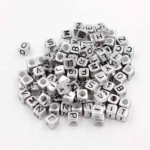 100 Pcs Acrylic Mixed silver Alphabet Letter Cube Beads hole:3.8mm, 7x7mm