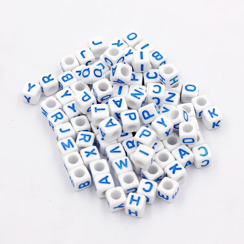 100 Pcs Acrylic Mixed Alphabet Letter Cube Beads hole:3.8mm, 7mm, white and blue letter