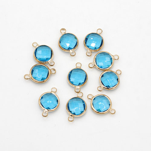5Pcs 10x16mm aqua Round Glass crystal Connecter Bezel pendant, Drops Gold Plated two Loops