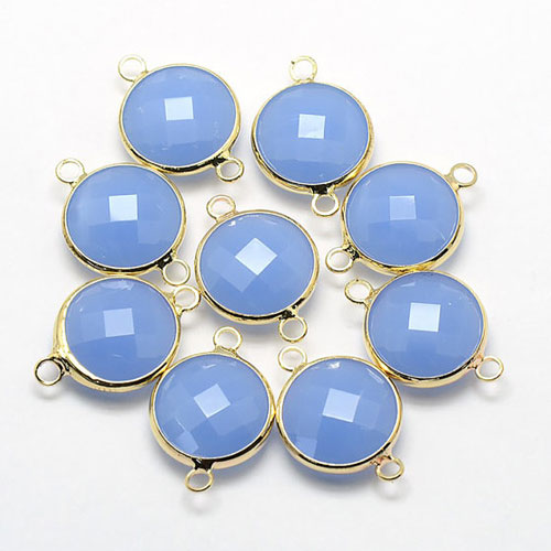 5Pcs blue jade Round Glass crystal Connecter Bezel pendant, 20x13mm, Drops Gold Plated Two Loops