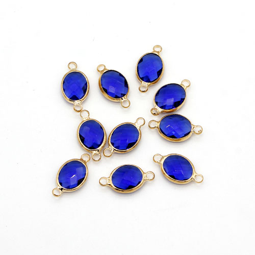 5Pcs 8x16mm sapphire oval Glass crystal Connecter Bezel pendant, Drops Gold Plated two Loops