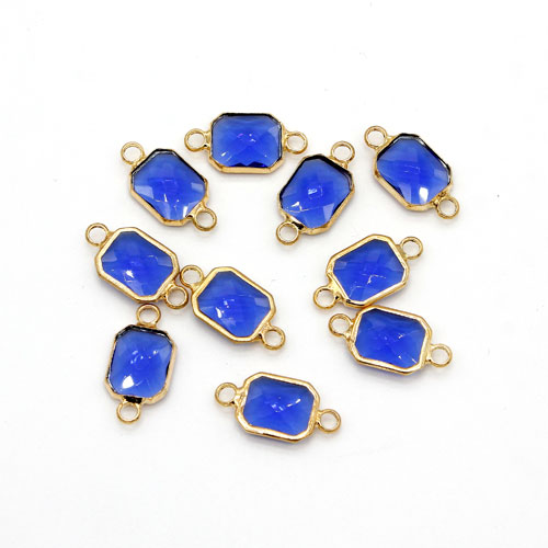 5Pcs 9x17mm sapphire Rectangular Glass crystal Connecter Bezel pendant, Drops Gold Plated two Loops