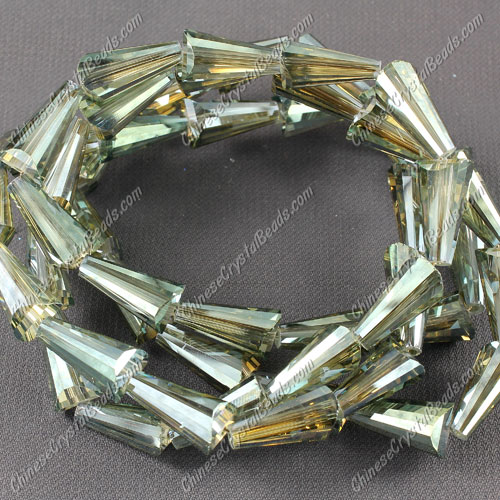 20pcs Chinese Artemis crystal beads strand, 8x15mm, Olivine satin