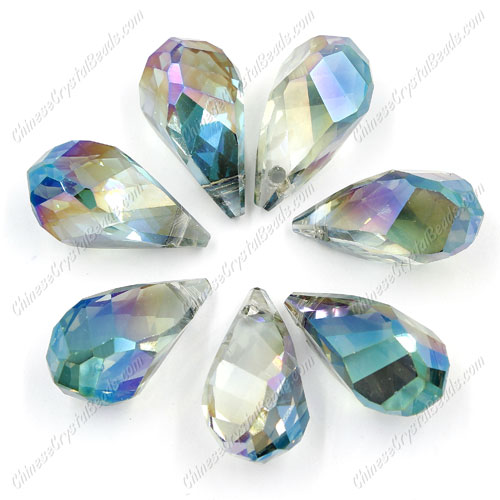 10Pcs Crystal helix Teardrop bead Pendant, 12x22mm, hole:1.5mm, green light