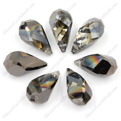 10Pcs Crystal helix Teardrop bead Pendant, 12x22mm, hole:1.5mm, half gunmetal