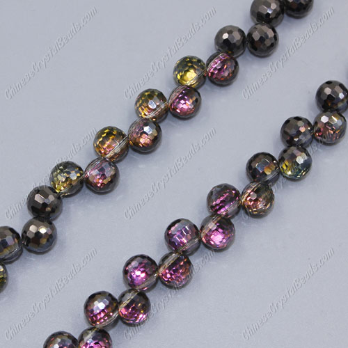 20Pcs chinese crystal round drop beads, 8mm, hole:1.5mm, Hematite and purple