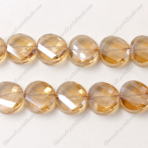 Crystal Twist Bead Strand, 14mm, Golden Shadow, 10 beads