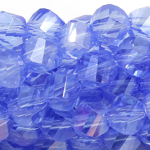 Crystal Helix Beads Strand, 4mm, lt sapphire AB, about 100 beads, 15 inch