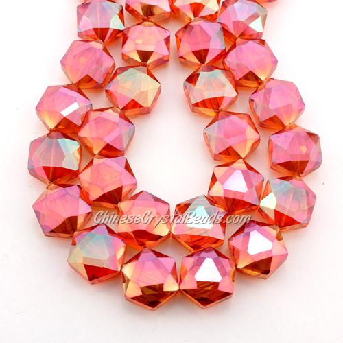 crystal faceted Hexagon beads, 14x16mm, Orange AB, per pkg of 8pcs