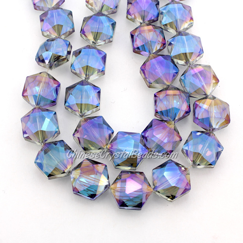 crystal faceted Hexagon beads, 14x16mm, blue light, per pkg of 8pcs