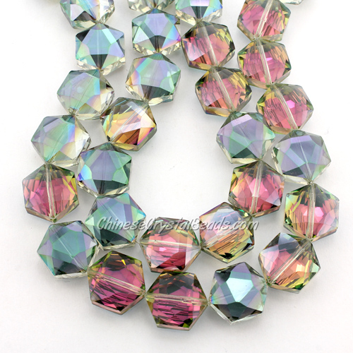 crystal faceted Hexagon beads, 14x16mm, green and purple, per pkg of 8pcs